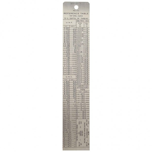 "GENERAL Stainless Steel 6"" Rule/Reference Table"